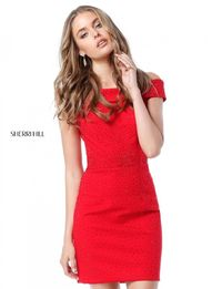 Sherri Hill 51425 Off-The-Shoulder Red Latest Slim Short Homecoming Dress