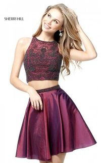 HOT SHORT TWO PIECE PLUM SHERRI HILL 51299 HOMECOMING DRESS SALE