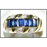 Natural 18K Yellow Gold Diamond For Men Blue Sapphire Ring [RQ0035]
