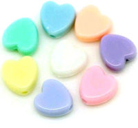 Pack of 100 Assorted Colours Pastel Acrylic Heart Beads. 7mm x 8mm Spacers £5.99