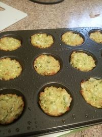 15 calorie Zucchini Tots! These are simply stated : AMAZING!! Ingredients: Squash - Zucchini, includes skin, raw, 1 cup, chopped Onions - Raw, 1/4 cup, chopped Parmesean Cheese Grated - 1/4 cup Panko Bread Crumbs- 1/4 cup Eggs - Whole, raw, 1 large