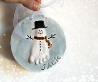 Pop out Snowmen foot print ornament up to 4 by Dprintsclayful