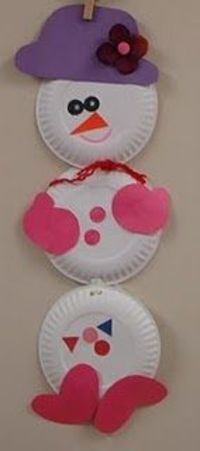 Cute snowman out of paper plates