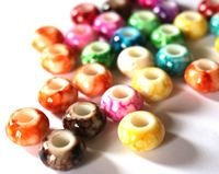 Pack of 50 Assorted Speckled European Stripe Beads. 15mm x 9mm Round Acrylic Spacers £7.99
