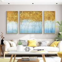 3 pieces wall art Gold art abstract painting Acrylic tree Paintings On Canvas Original art Wall Pictures cuadros abstractos contemporary art $179.50
