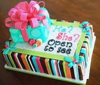 Baby gender reveal cake. What a cute idea!!