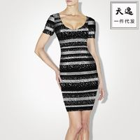 Single print slim cocktail bandage dress with short sleeves dresses H714 - Bonny YZOZO Boutique Store
