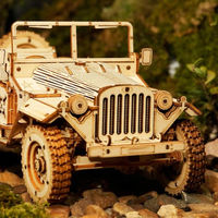 3D Wooden Puzzles, Movable Army Jeep Wooden Model,Retro Style Assembly Toy $57.70