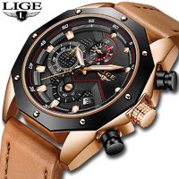 LIGE Mens Watches Top Brand Luxury Quartz Gold Watch Men Casual Leather Military Waterproof Sport $59.98