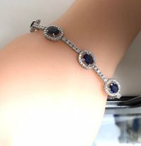 Diamond sapphire bracelet white gold 3 carats diamonds and 7 carats sapphire in 14 karat white gold tennis bracelet perfect gift for her < #jewelry #oneofkind #specialorder #customize #honest #integrity #diamond #gold #rings #weddingband #anniversary #...