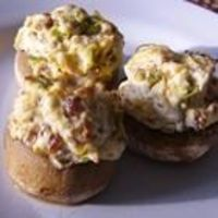 Jalapeno Popper Stuffed Mushrooms- I might make these for our Tailgate Party themed Church Dinner in October
