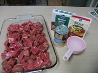This is my family's new favorite! Serve it over mashed potatoes. Crock Pot Beef Tips: 2 lb. stew meat, 1 can cream of mushroom, 1 packet brown gravy mix, 1 packet lipton dry onion soup mix, 1small can mushrooms, 1 cup water. Mix all ingredients and po...