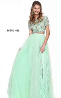 2017 50857 Lace Short Sleeve Green Senior Prom Dress by Sherri Hill