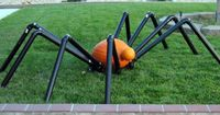 Halloween spider made with PVC pipes and pumpkins! ~Ashbee Design