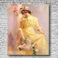 Hand-painted Painting People Portrait By Pino Daeni Reproduction