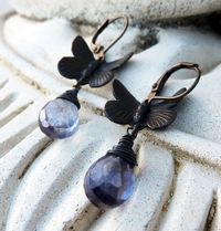 Butterfly Dangle Earrings, Dark Antiqued Brass, Indigo Blue Mystic Quartz Gemstone, Woodland Earrings, Gift for Her