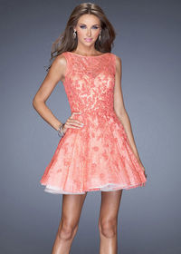 Hot Coral Lace Covered 20244 Short Prom Dress