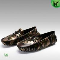 CWMALLS® New York Camo Leather Driving Flats CW706166[Custom Made, Global Free Shipping]