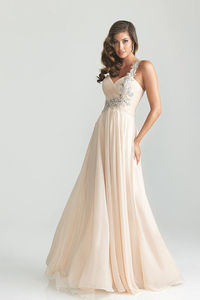 Nude One Shoulder A Line Beaded Full Length Prom Dresses