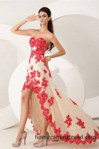 High Low Beaded Lace Red Cheap Prom Dresses 2015