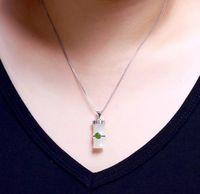 White Hetian Jade Bamboo Necklace-Bamboo Jade Necklace Pendant-925 Silver Necklace-Charm Necklaces-Inlaid Jade Jewelry