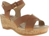 Hush Puppies Tan Eva Farris Womens Sandals Meet Eva Farris from Hush Puppies - shes a real sweetie. The tan leather wedge features soft cross-straps on the two-part design, with a subtle gold buckle for a supportive fastening. A 6cm cork wedge http://www....