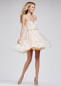 Embroidered Crystal Lace Fitted Flare Ivory Nude Homecoming Dress