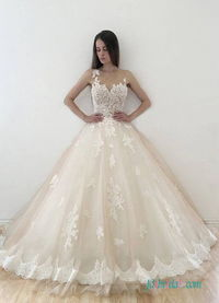 H0552 Sexy illusion nude tulle with ivory lace wedding dress Model: H0552(Worldwide Free shipping)