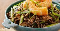 Olive Oil-Poached Shrimp #recipe with Soba Noodles and Sriracha
