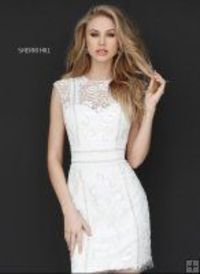 Ivory Sherri Hill 51287 Short Beaded Cap Sleeve Homecoming Dress