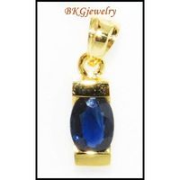Blue Sapphire Gemstone 18K Yellow Gold Solitaire Pendant [P0045]
