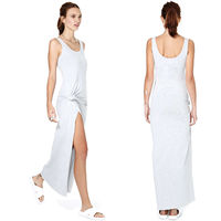 2016 Sleeveless Ruched Slit Casual Slim Maxi Dress