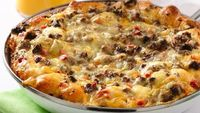 Cheesy Southwest Egg Bake - ( for when you feel like having breakfast for dinner). Eggs, spicy pork sausage, peppers, onion, pepper Jack or Mexican cheese, refrigerated biscuits & veg. oil.