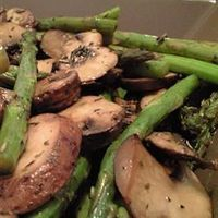 """Roasted Asparagus and Mushrooms / By: leo67/ """"I love roasting veggies and hit on this WONDERFUL combo. You could use a Hollandaise on the side.... but why??"""" / Allrecipes.com"""