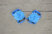 Turquoise Shabby Flower Baby Barefoot Sandals