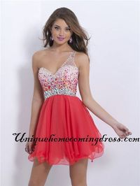 Short Persimmon Beaded Open Back Blush 9859 One Shoulder Homecoming Dress
