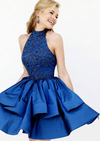 2015 Royal Beaded Bodice Tiered Taffeta Cut Short Party Dress