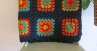 Vintage lg granny square blanket black with by TheBlueSkyBoutique