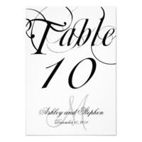 Black White Monogram Wedding Table Number Card