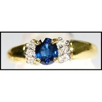 18K Yellow Gold Natural Blue Sapphire Diamond Solitaire Ring [RS0072]