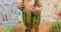 Baby In Watermelon Shorts!!