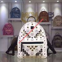 MCM Mini Stark M Odeon Studs Backpack In White