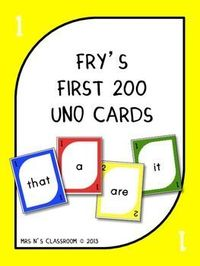{FREE} Fry's 1st 200 Words - Uno Cards
