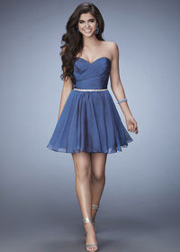 A-line Strapless Slate Blue Ruched Homecoming Dress With Beaded Belt