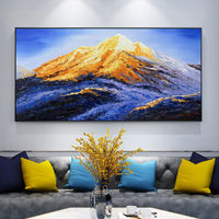 Snow Mountains Peaks Gold painting Abstract Oil painting on canvas Palette Knife blue Modern large painting Wall Pictures cuadros abstractos $148.75