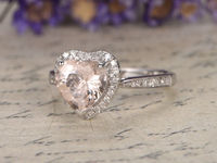 8MM HEART SHAPED MORGANITE AND DIAMOND ENGAGEMENT RING 14K ROSE GOLD HALO