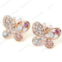 Fashion Women's Pearl Rhinestone Butterfly Hollow Earring