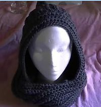 Very simple hooded scarf. Written pattern and video.