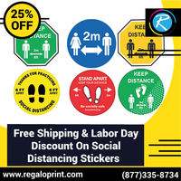 Free Shipping & 25% Labor Day Discount On Social Distancing Stickers