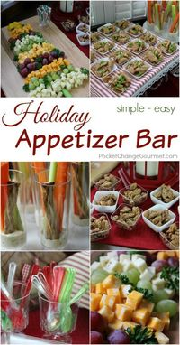 Get ready for the holidays! This Holiday Appetizer Bar couldn't be easier! It's looks impressive, but it's very simple. Visit our 100 Days of Homemade Holiday Inspiration for more recipes, decorating ideas, crafts, homemade gift ideas and much...